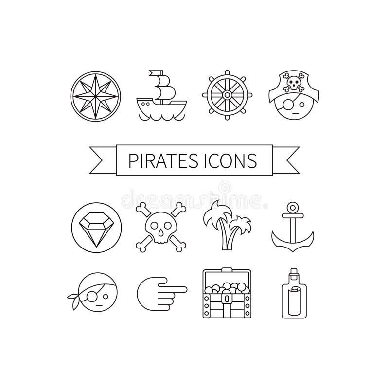 Piratas ajustados ícones ilustração stock