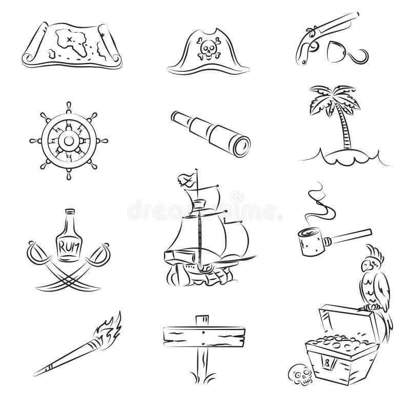 Piratas ajustados ilustração royalty free
