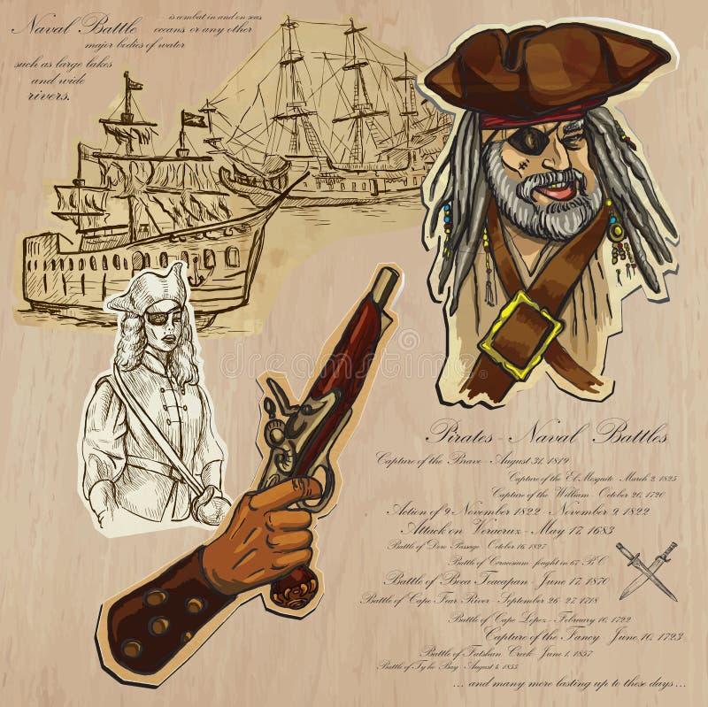 Piratas - batalhas navais ilustração do vetor