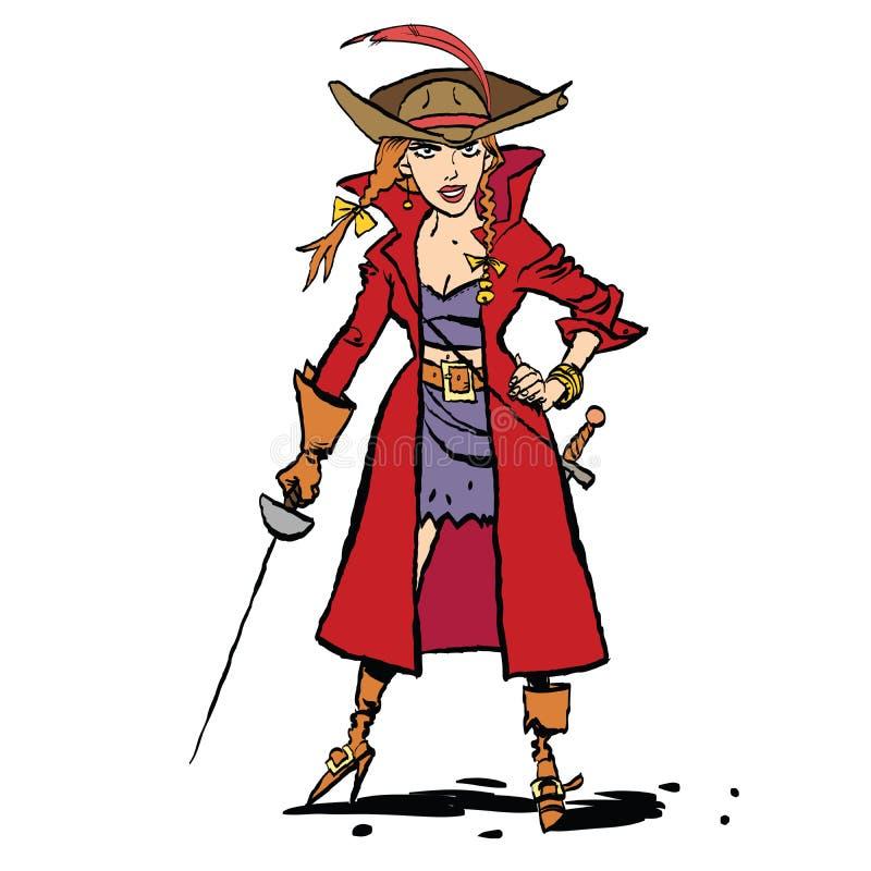 Piratas bonitos da jovem mulher ilustração royalty free