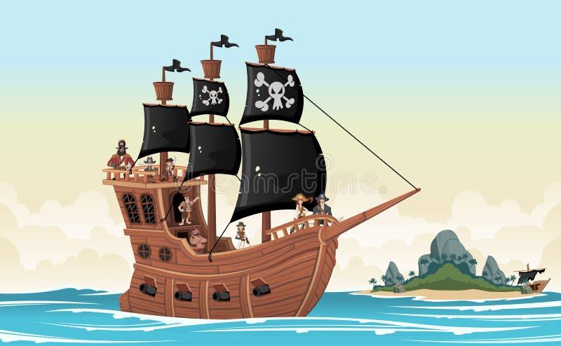 Piratas dos desenhos animados em um navio no mar ilustração do vetor