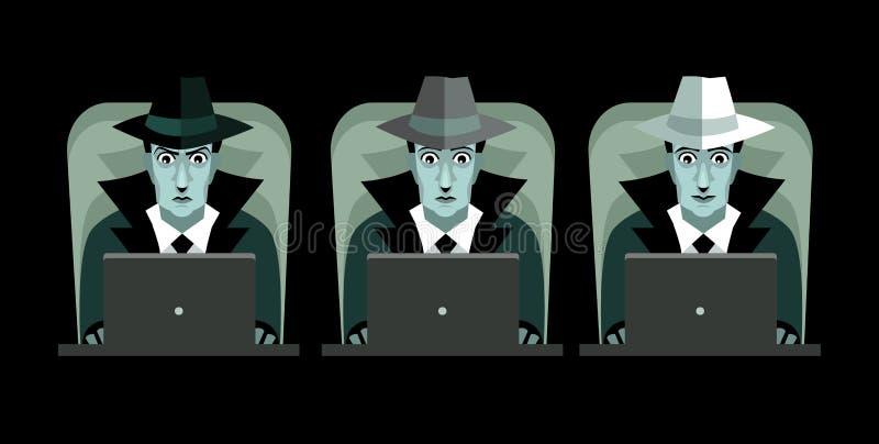 Piratas informáticos grises y blancos negros con los ordenadores stock de ilustración