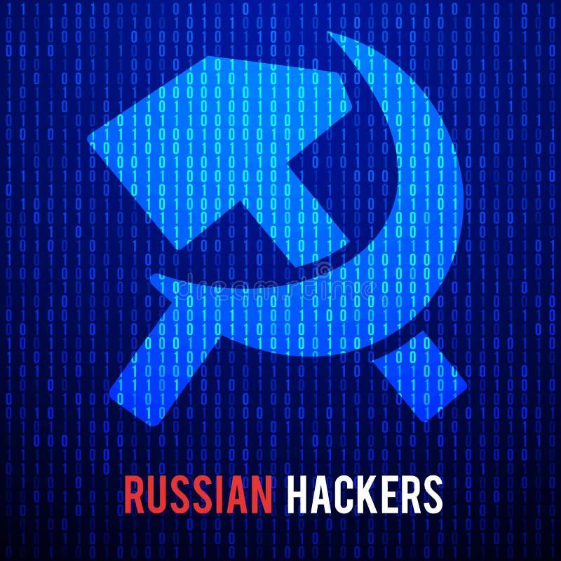 Piratas informáticos rusos Fondo abstracto de la matriz libre illustration