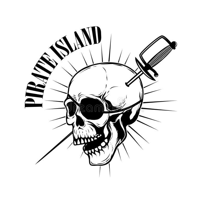 Piratas Plantilla Del Emblema Con Las Espadas Y El Cráneo Del Pirata ...
