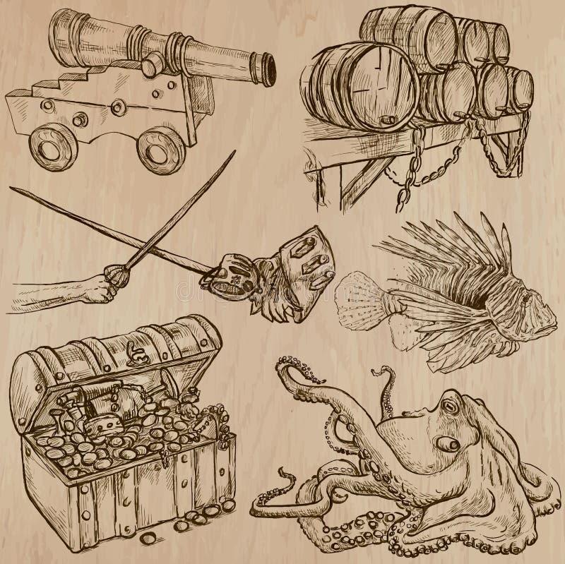 Piratas - um bloco tirado mão do vetor nenhum 9 ilustração do vetor
