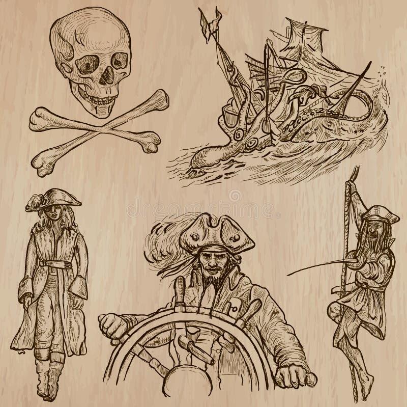 Piratas - um bloco tirado mão do vetor nenhum 10 ilustração do vetor
