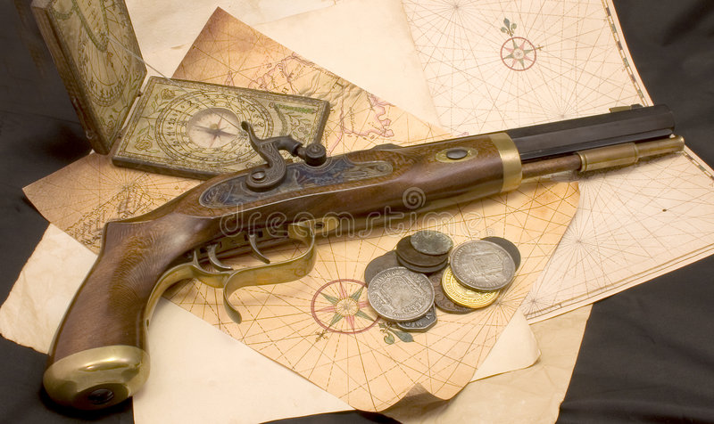 The pirate 01. Composition with pistol , maps, money and compass