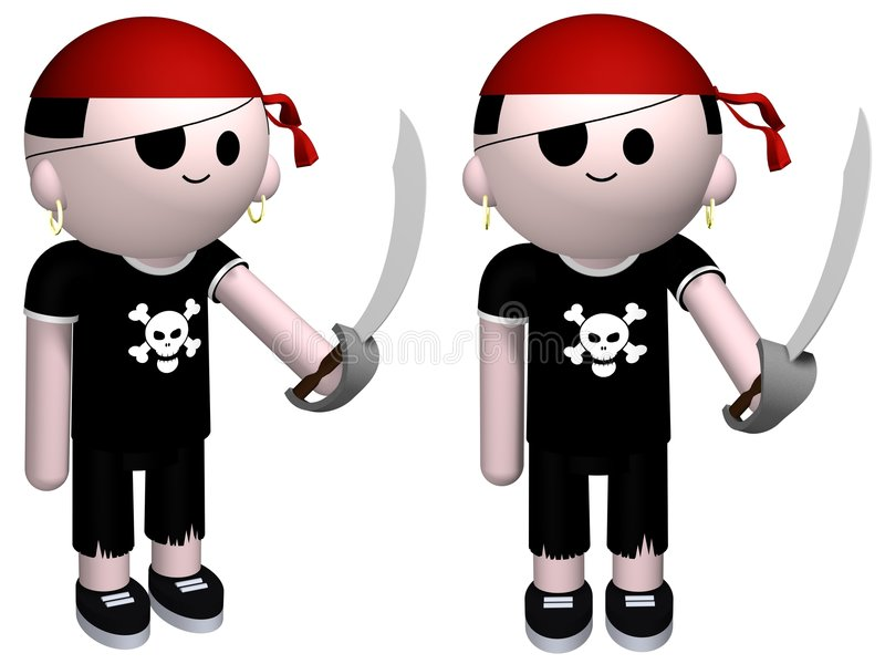 Pirate. 3D illustration of a boy dressed up as a pirate vector illustration