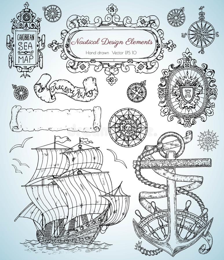 Design Set With Old Nautical Elements, Sailing Ship, Anchor, Frames ...