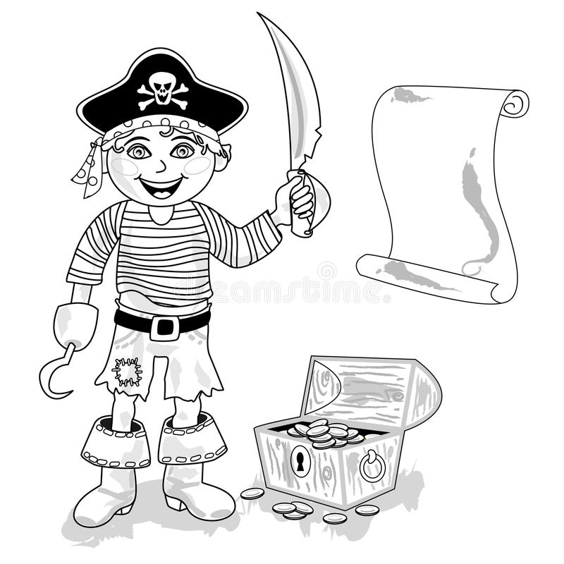 Pirate avec le contour de carte illustration de vecteur