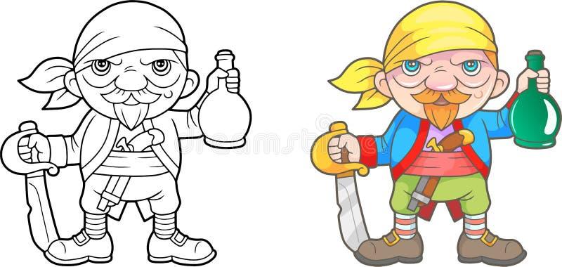 Pirate avec livre de coloriage de bouteille illustration libre de droits