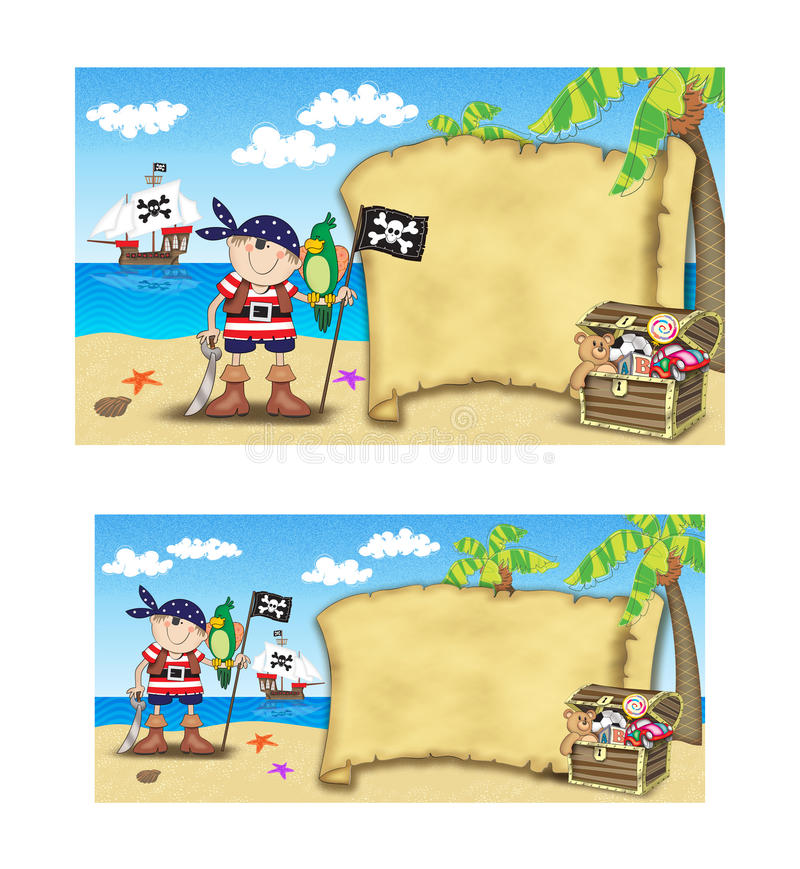 Pirate baptism invitation. Two layouts of a pirate baptism invitation scene stock illustration