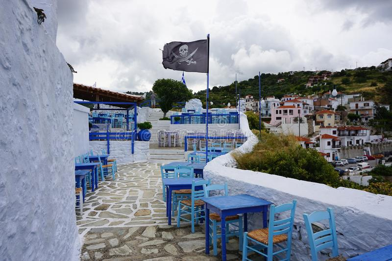 Pirate bar in Skopelos, Greece stock images