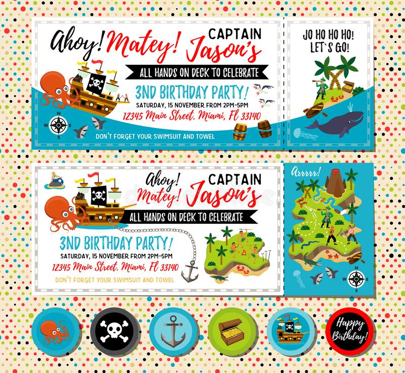 Pirate birthday invitation. Treasure Map Invitation. Pirate Party Decorations for Birthday Party or Baby Shower. Pirate royalty free illustration