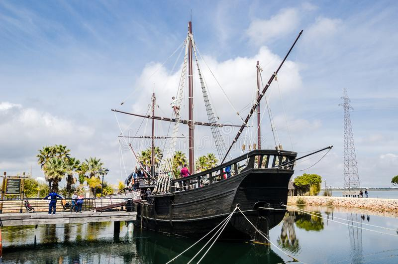 Pirate boat. Caravel sailing ship of Christopher Colombus. Huelva, Spain. Pirate boat. Caravel sailing ship of Christopher Colombus exhibition in Huelva, Spain stock photos