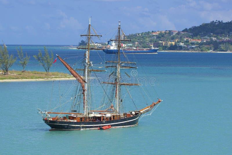 Pirate boat in Montego Bay in Jamaica, Caribbean. Boats in Montego Bay, Jamaica, Caribbean stock image
