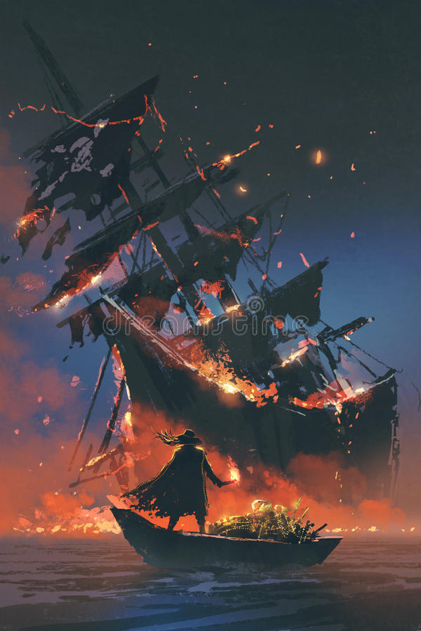 Pirate On Boat With Treasure Looking At Sinking Ship Stock ...