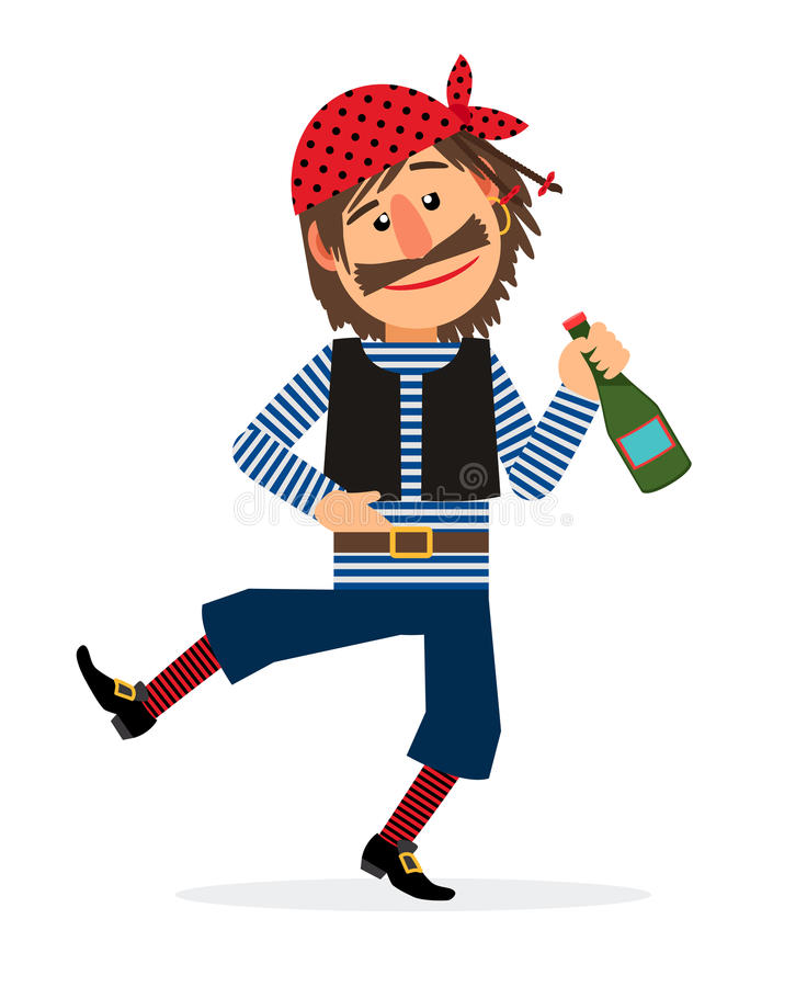 Pirate with bottle of rum. Pirate jolly dancing and holding the bottle of rum cartoon character on white background. Vector illustration vector illustration