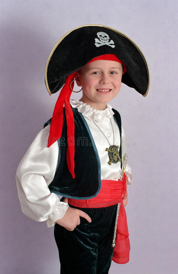 Pirate boy. Little boy in pirate costume royalty free stock photo