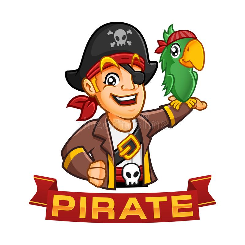 Pirate boy character or mascot cartoon with a parrot at his arm, fun vector illustration royalty free illustration