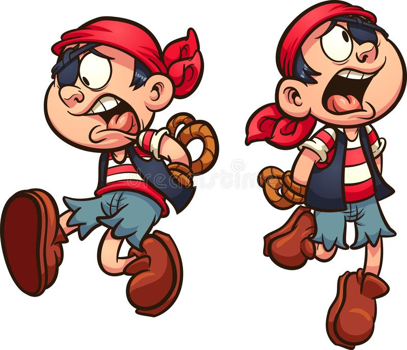 Pirate boy falling with hands tied behind back. Vector clip art illustration with simple gradients. Each on a separate layer vector illustration