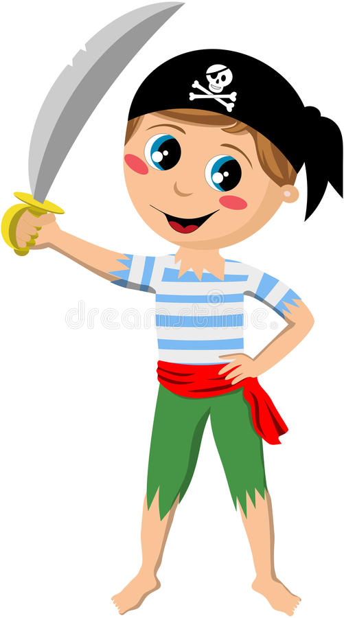 Download Pirate Boy Holding Sword stock vector. Illustration of teenager - 31260972