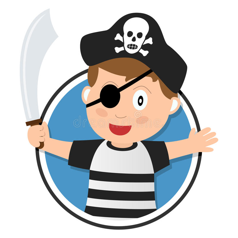 Pirate Boy with Sabre Logo. Pirate boy with sabre, hat and eye patch logo, isolated on white background. Eps file available vector illustration