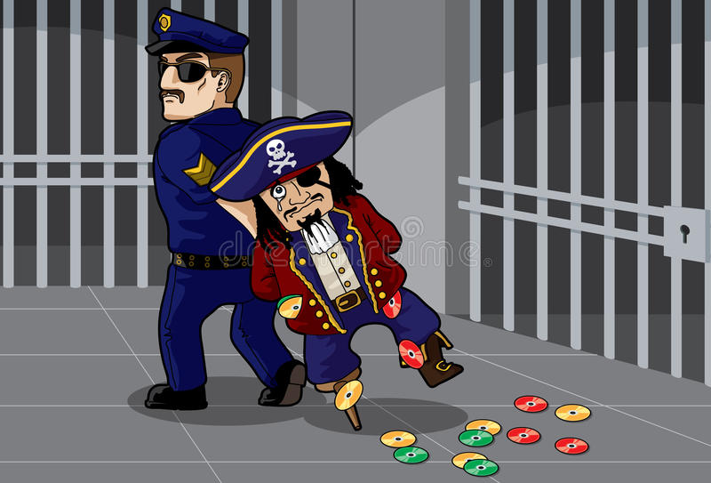 Pirate Busted. By a policeman royalty free illustration