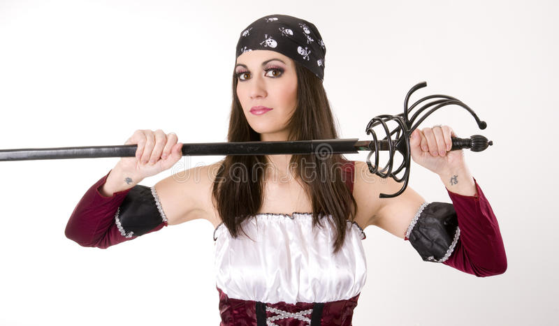 Download Female Pirate Captain Pulls Sword From Sheath Stock Image - Image: 23536559
