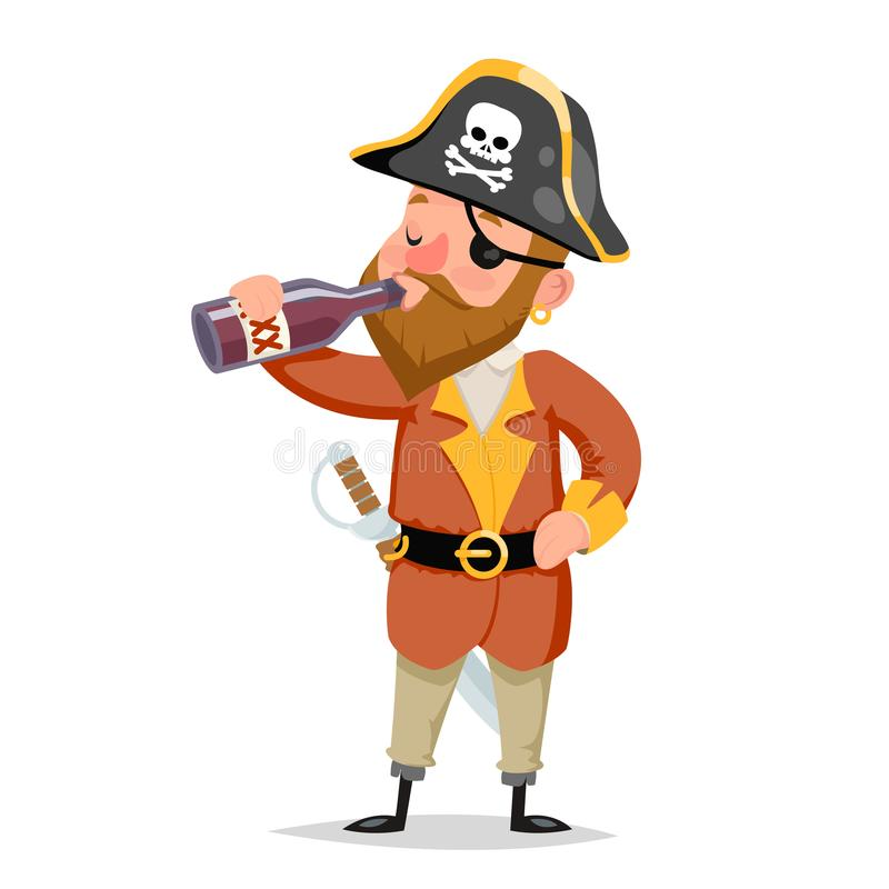 Pirate captain drink rum bottle character alcoholism character cartoon design vector illustration. Pirate captain rum bottle drink character alcoholism character royalty free illustration