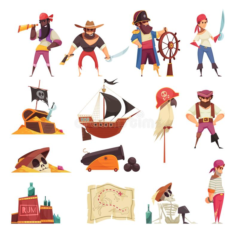 Pirate Cartoon Icons Collection stock illustration