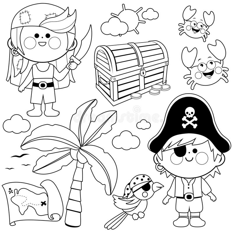 Pirate children vector set. Black and white coloring book page royalty free illustration