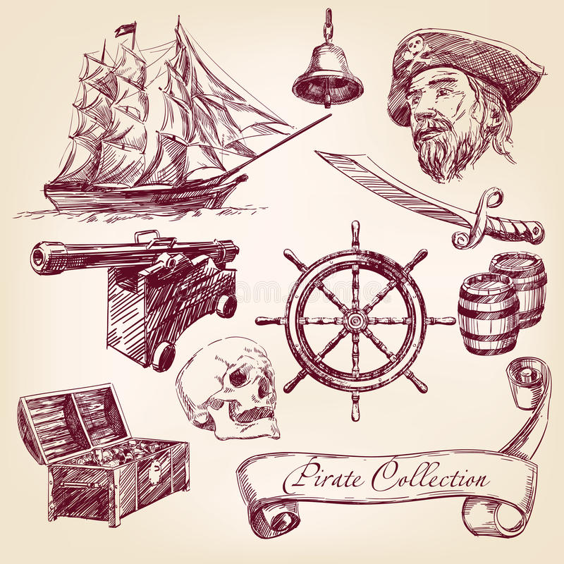 Pirate collection vector illustration stock illustration