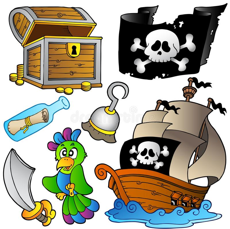 Pirate collection with wooden ship stock illustration
