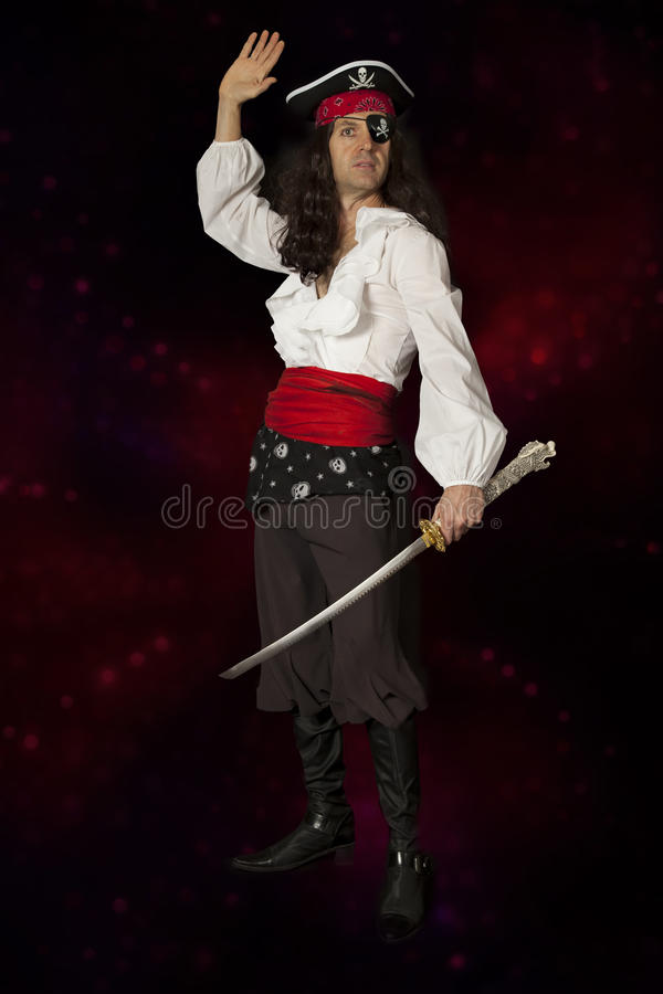 Pirate on a colorful background stock image