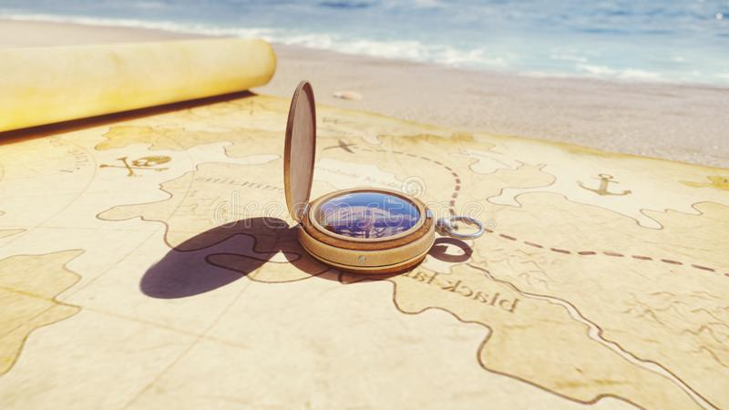 Pirate compass on the Treasure Map lying on the sand on the island of pirates. Vintage beautiful pirate compass lying on royalty free stock images