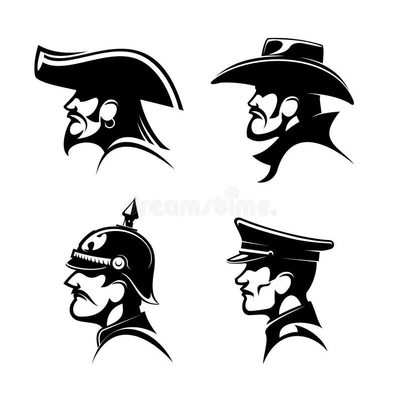 Pirate, cowboy, général prussien, soldat allemand illustration de vecteur