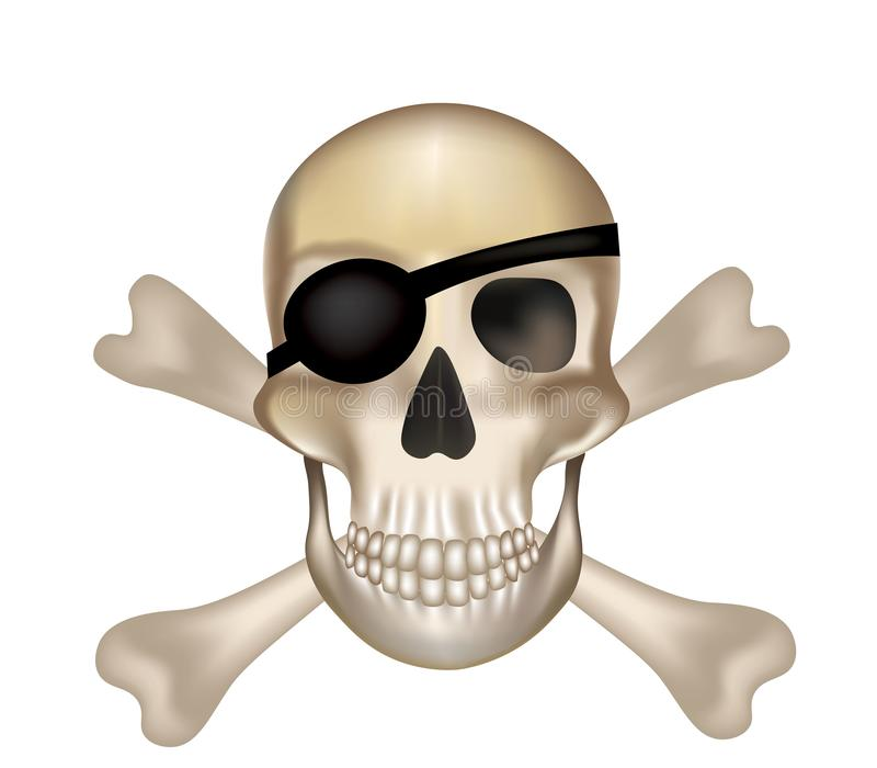 Pirate crossbones skull vector illustration