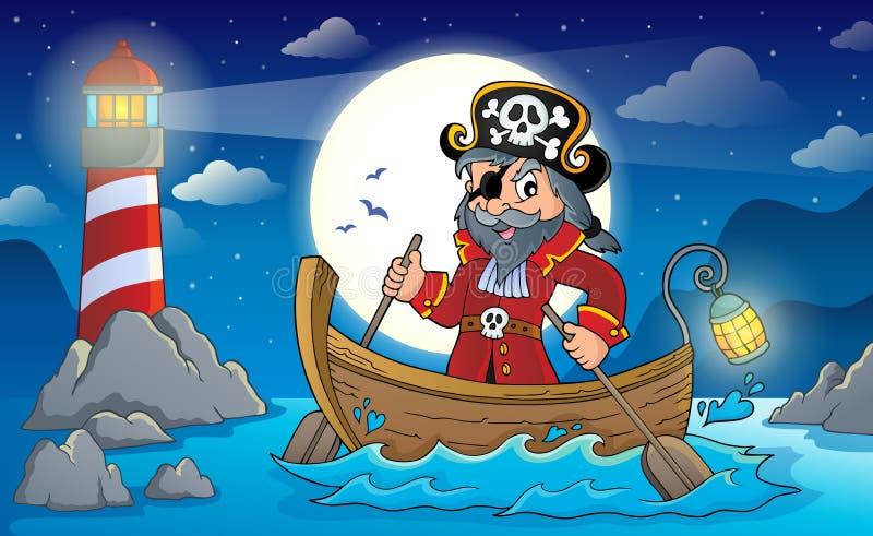 Pirate dans l'image 2 de sujet de bateau illustration stock