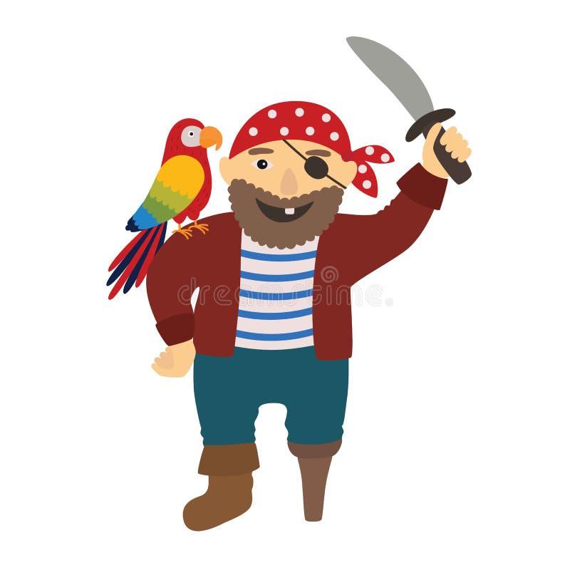 Pirate de pirate de bande dessinée avec un perroquet sur son épaule illustration libre de droits