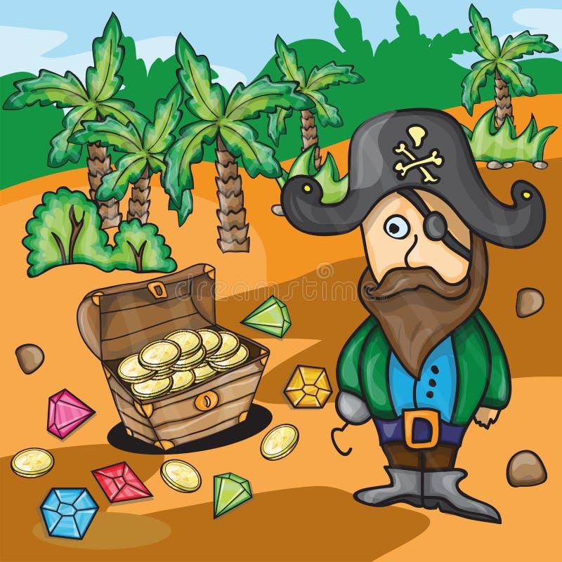 Pirate de bande dessinée d'amusement avec le trésor illustration libre de droits