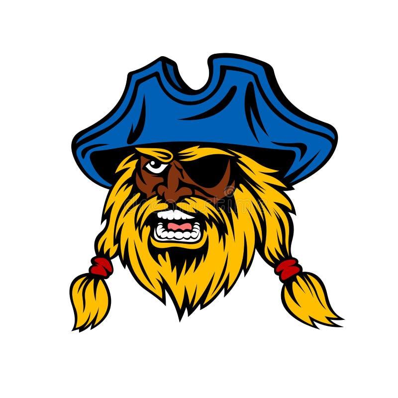 Pirate de capitaine de bande dessinée avec de longs cheveux dans le chapeau illustration de vecteur