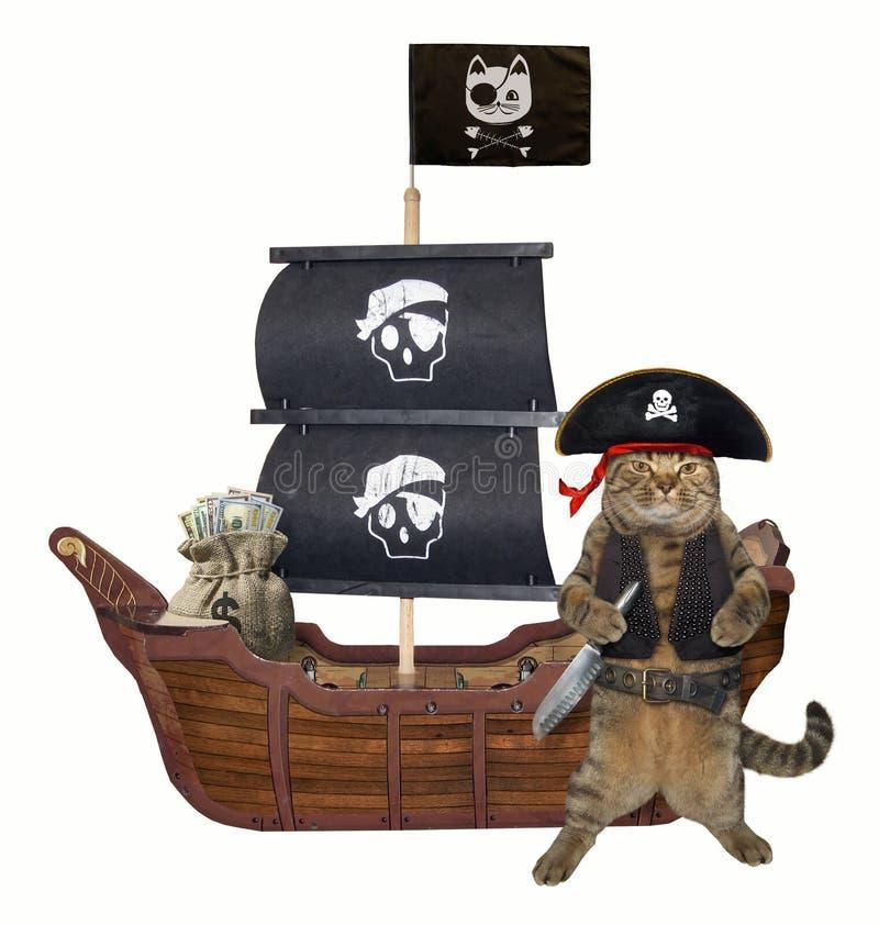 Pirate de chat près du bateau photographie stock libre de droits