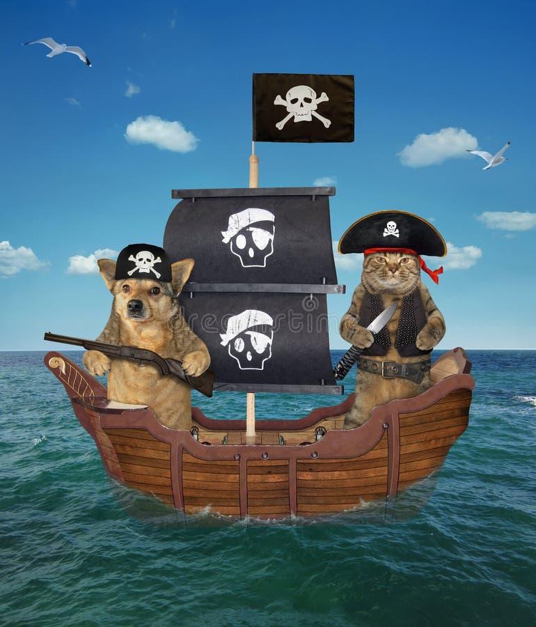 Pirate de chien et de chat sur le bateau images libres de droits