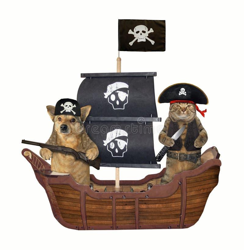 Pirate de chien et de chat sur le bateau photographie stock
