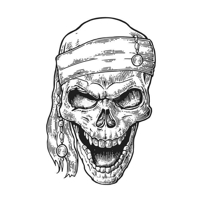 Pirate de crâne dans le sourire de bandana Vecteur noir de gravure de vintage illustration stock
