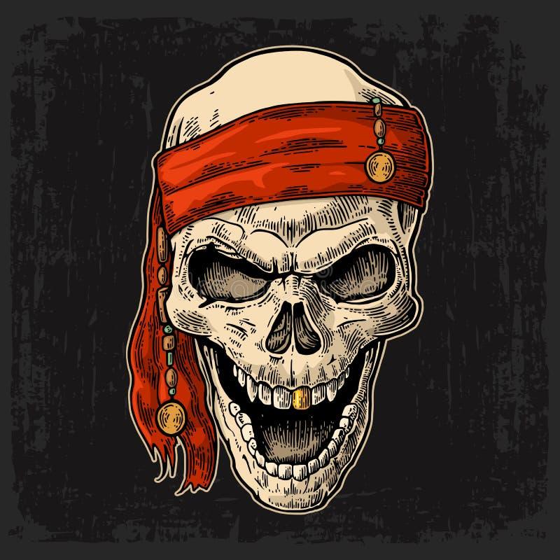Pirate de crâne dans le sourire de bandana Vecteur noir de gravure de vintage illustration de vecteur