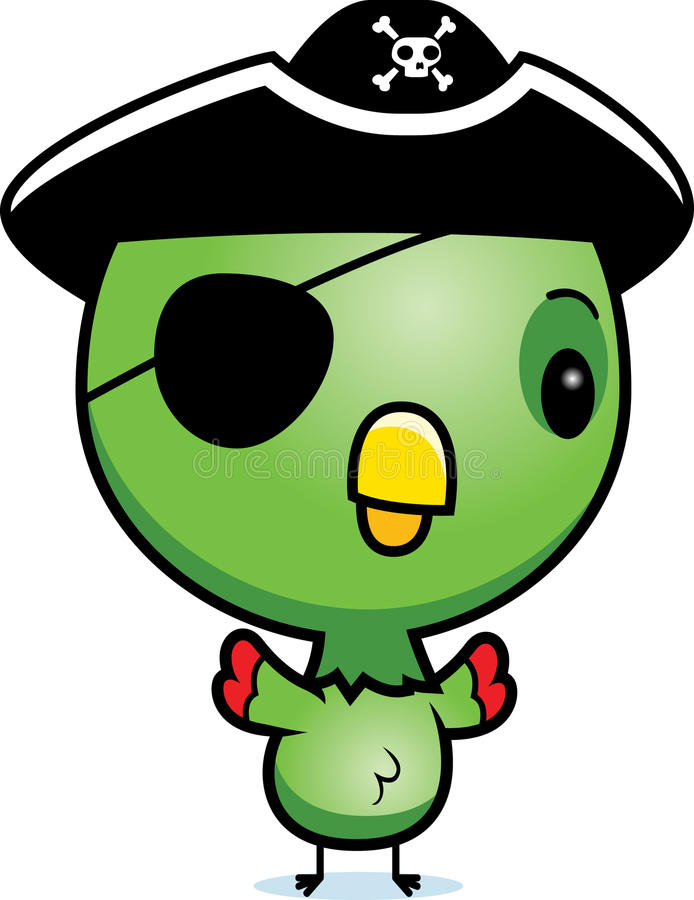 Pirate de perroquet de bébé de bande dessinée illustration stock