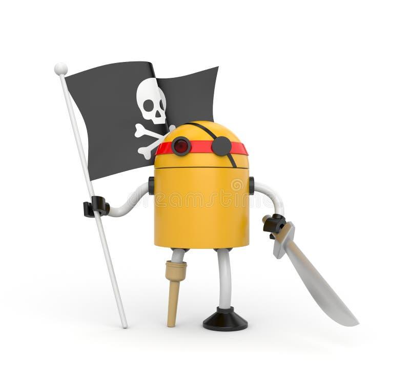 Pirate de robot avec le drapeau illustration de vecteur
