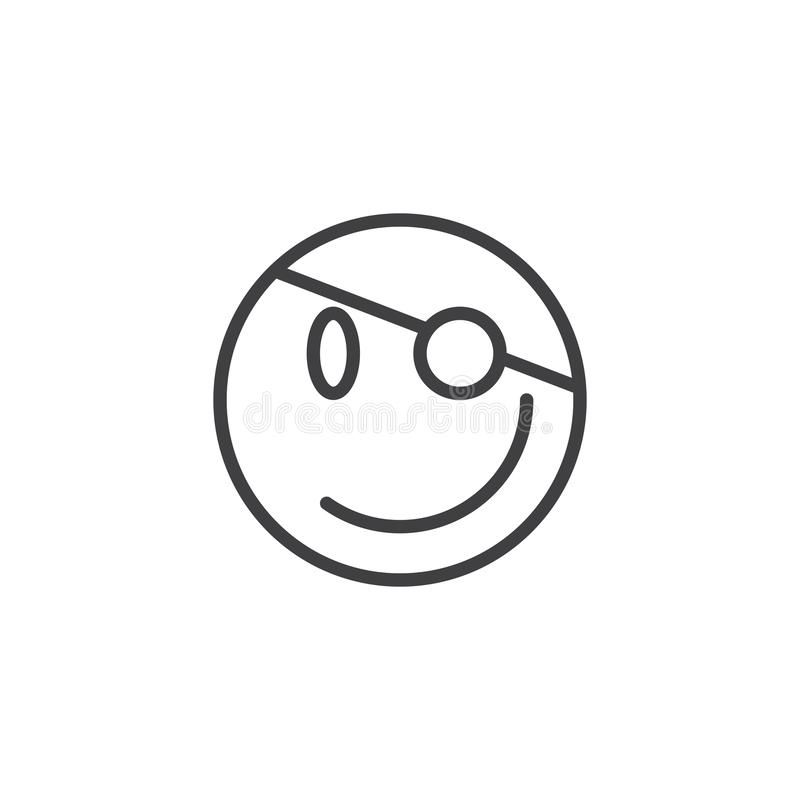 Pirate emoji line icon. Linear style sign for mobile concept and web design. Happy emoticon face with eye patch outline vector icon. Symbol, logo illustration royalty free illustration